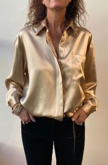 October Reign Oversized Silk Shirt - Champagne