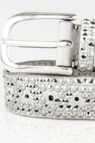 B.Belt Zoe  Studded Leather Belt - Off White
