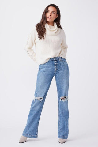 Paige Leenah W/Exposed Buttonfy Flared Jeans - Magda Destructured