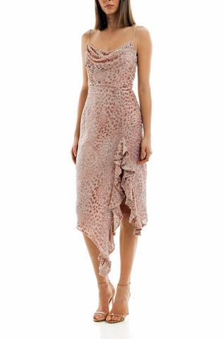 Misha Emilia Leopard Print Slip Dress - Blush