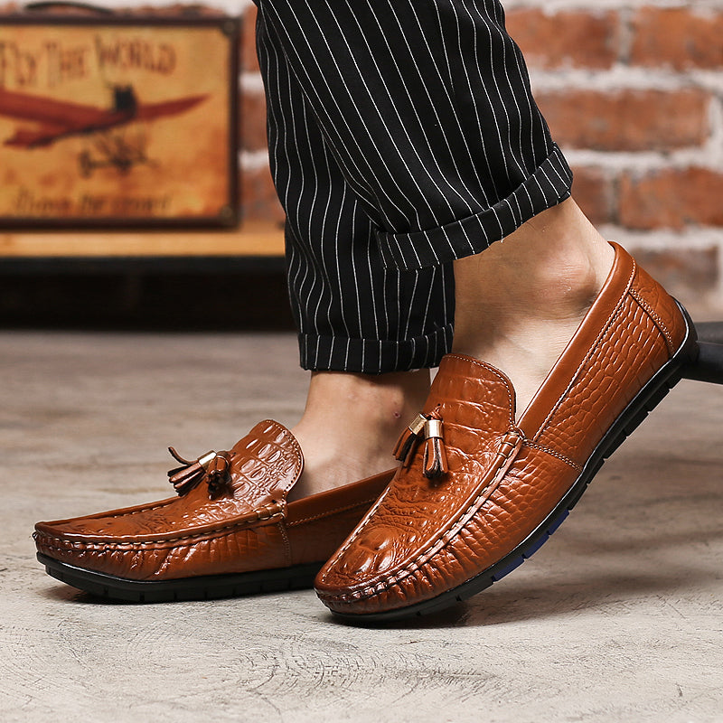 Belted Alligator Scale Shoes