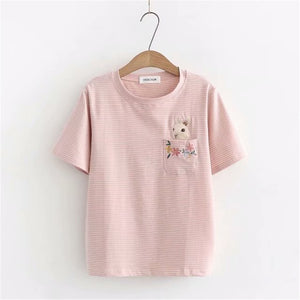 Colored Bunny in Pocket T-shirt [New Arrival]