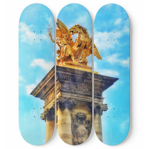 Golden Sky Battle Original 3 Skateboard Decks Wall Art by Julian Milam - Kid Angeles Co 3 Skateboard Wall Art wc-fulfillment