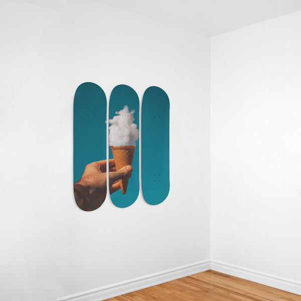Man Holding Ice Cream Cone in the Sky | 3 Deck Skateboard Wall Art - Kid Angeles Co 3 Skateboard Wall Art wc-fulfillment