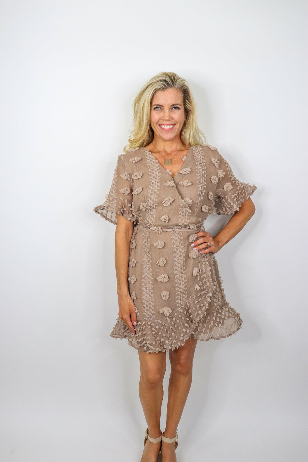 Short-Sleeve PomPom Dress