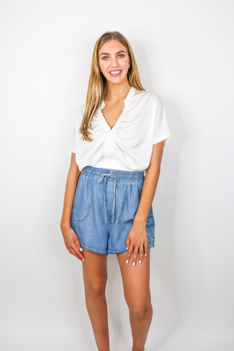 Washed Chambray Shorts
