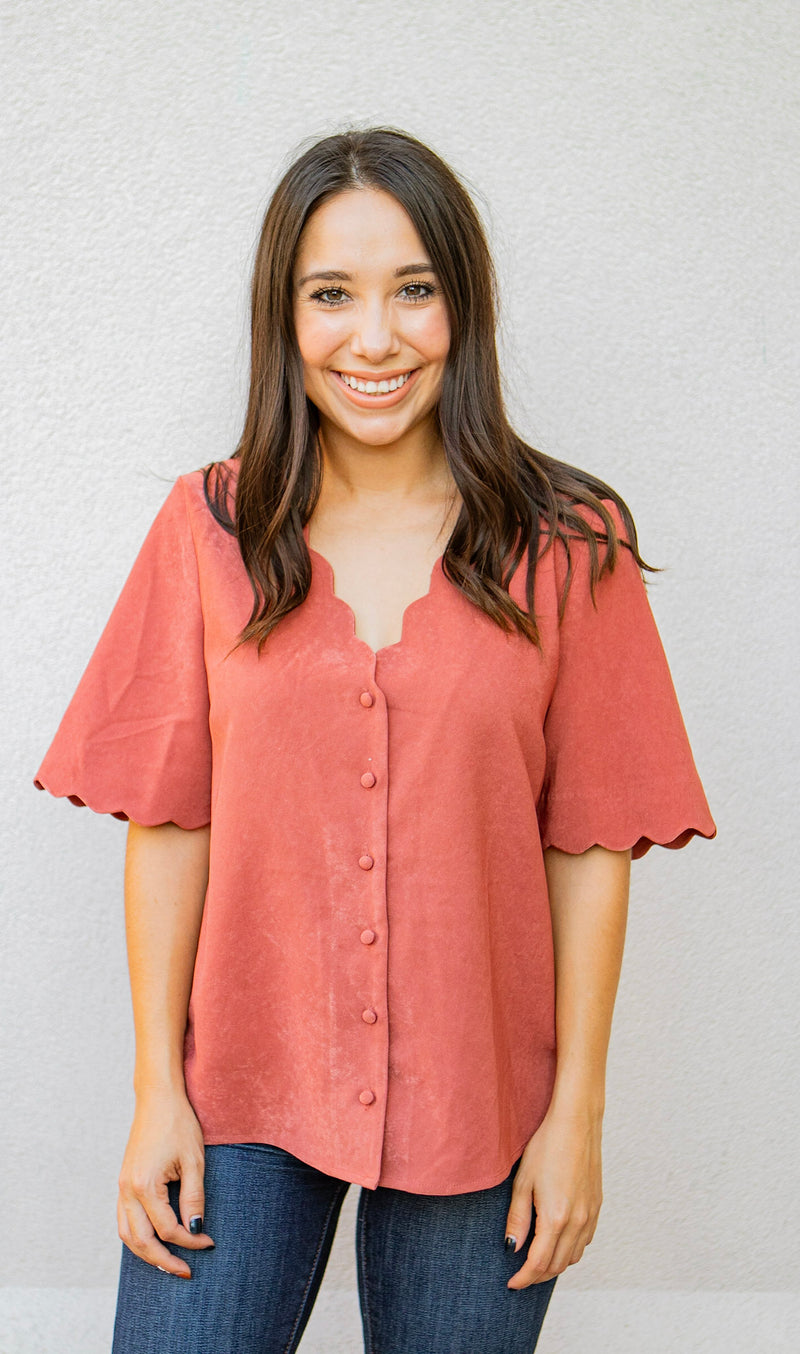 Scallop Button Down Blouse