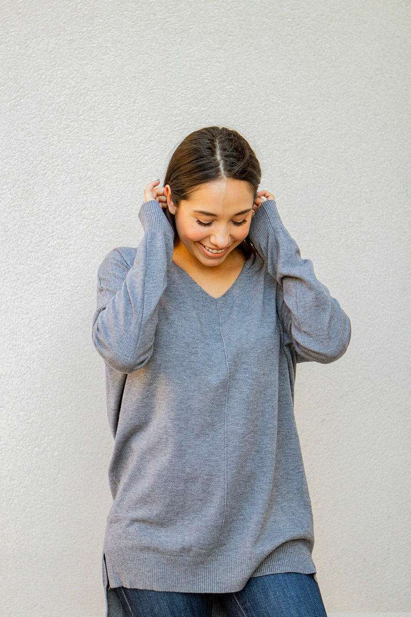 Center Seam Hi-Low Sweater