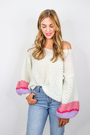 Colored Sleeve Knit Sweater