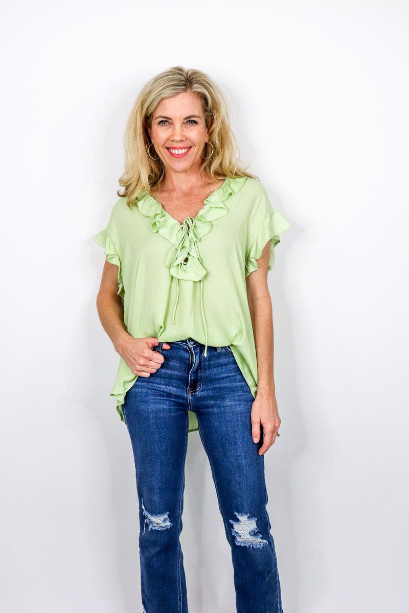 Ruffle Top With String Tie