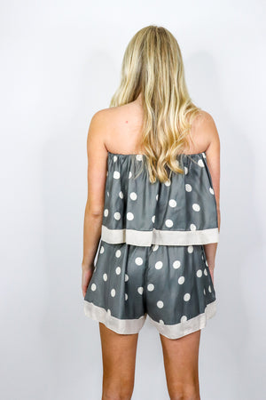 Dot Printed Tube Romper
