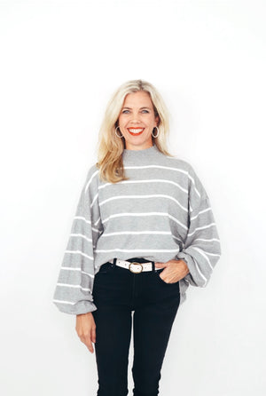 Striped Balloon Sweater