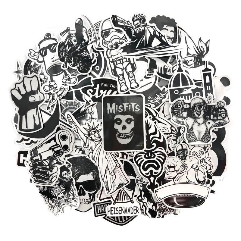 Black and White stickers - 60 pcs Free Shipping