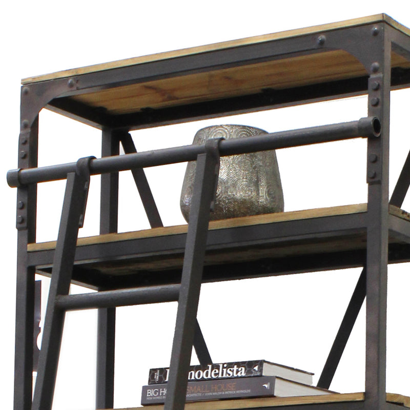 Industrial Bookcase with Ladder