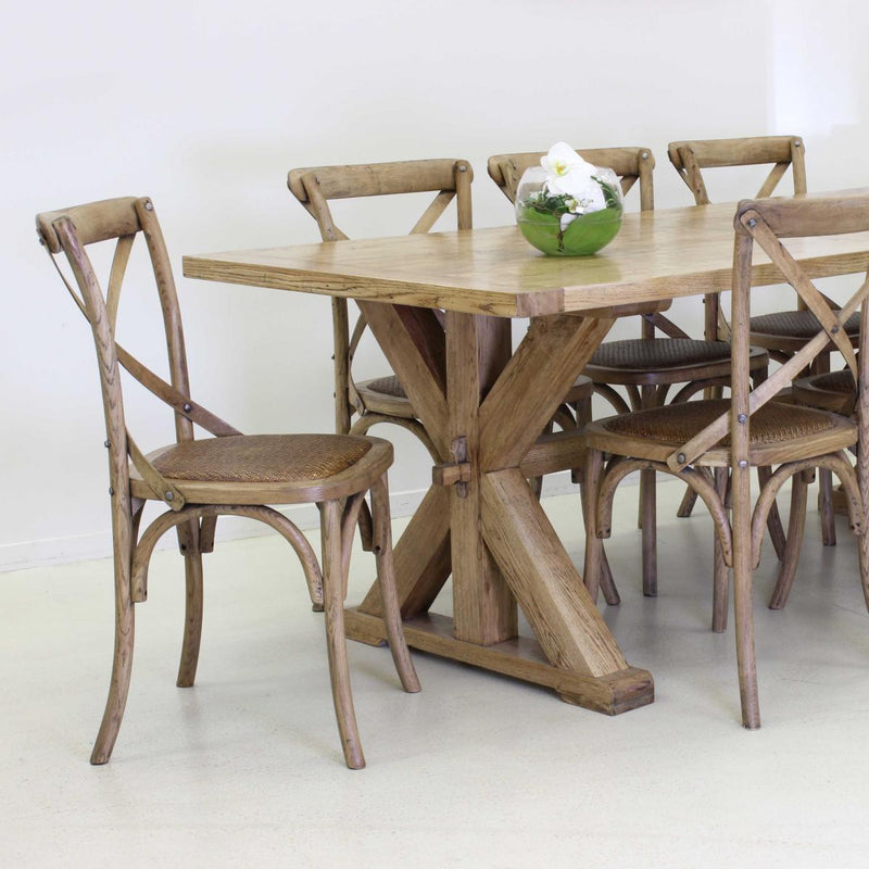 Cafe Oak chair, Natural with Wooden X back
