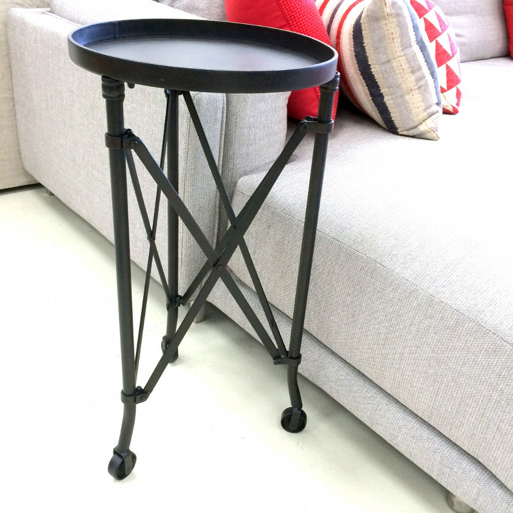 Industrial Side Table on Wheels
