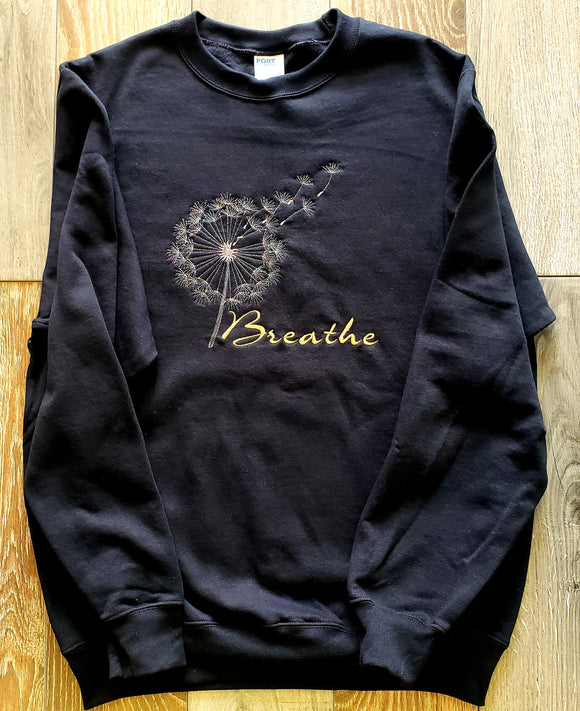 Black Crew Neck Sweatshirt Embroidered Breathe