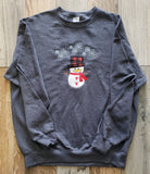 Dk Hth Grey Crew Neck Snowman Applique Sweatshirt Red and Black Checker Hat