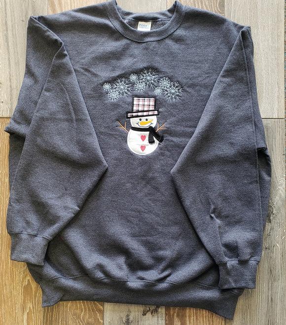 Dk Hth Grey Crew Neck Snowman Applique Sweatshirt Red, Black and White Checker Hat