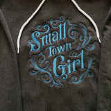 Grey Soft Touch Hoodie Embroidered Small Town Girl