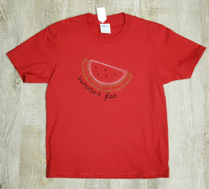 Girls Summer Fun watermelon embroidered T-Shirt