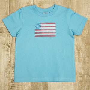 Kids American Flag Embroidered T-Shirt