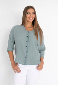 LUXE COTTON TOP - SAGE
