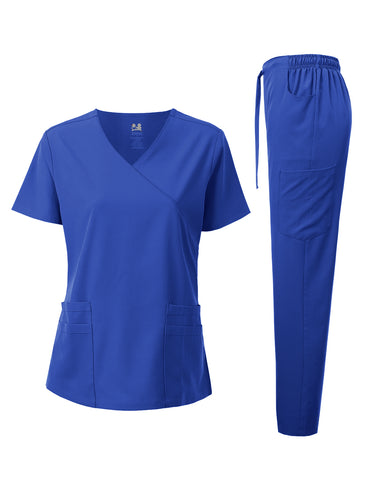 4-WAY STRETCH Y-NECK WRAP MEDICAL UNIFORM SET