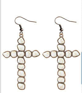 Cross stone earrings