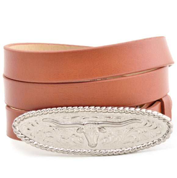 Western Belt with Oval Longhorn Buckle