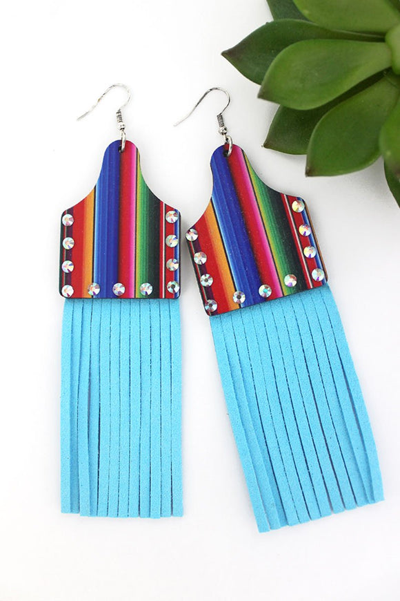 CRYSTAL SERAPE WOOD CATTLE TAG BLUE FRINGE EARRINGS
