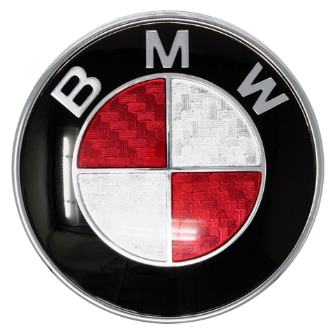 Red Carbon Fiber BMW Emblem Closeup