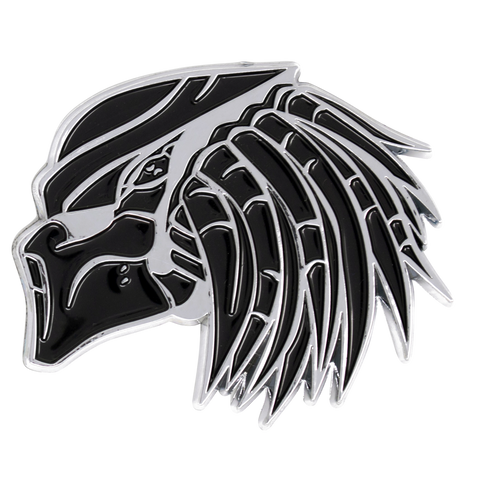 Black and Chrome Predator Emblem Closeup Left