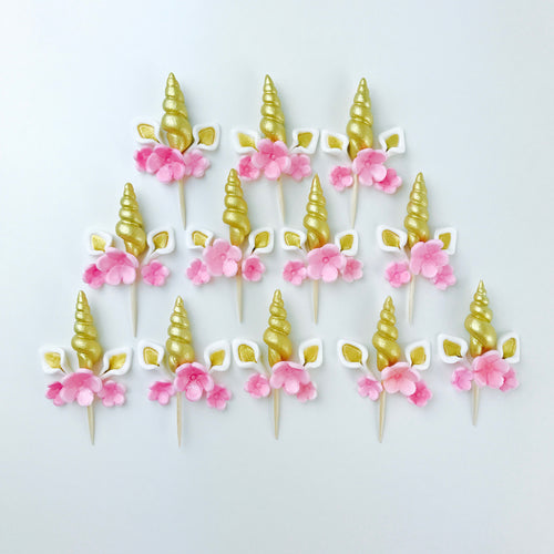 Gold Unicorn Cupcake Toppers set with Pink Flowers