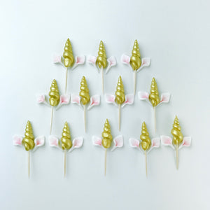 Set of 12 Gold Unicorn Cupcake Toppers - Ships within 3 Business Days