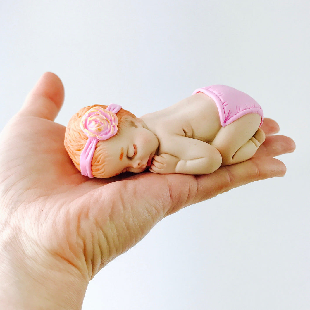 Sleeping Baby Girl fondant cake topper