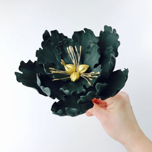 Black Extra Large Open Peony Sugar Flower