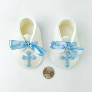 Baby Boy Christening or Baptising Fondant Booties Cake Topper