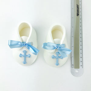 Baby Boy Christening Fondant Booties Cake Topper