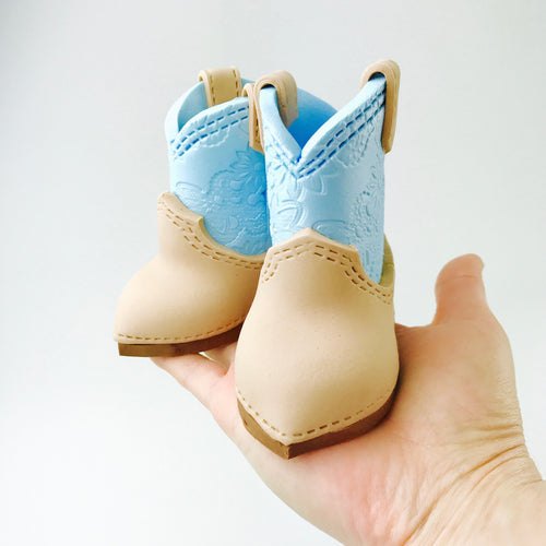 Cowboy boots fondant cake topper in Blue - Ships within 3 Business Days