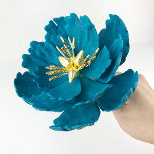 Turquoise Extra Large Open Peony Sugar Flower