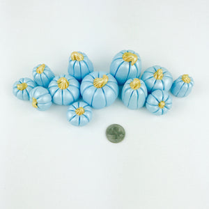 Blue pumpkin fondant toppers - Set of 12 - Ships within 3 Business Days