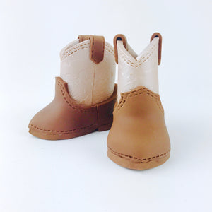 Classic Brown Cowboy baby boots fondant cake topper - Ships within 3 Business Days
