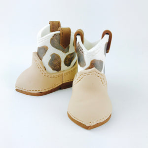 Cow print Brown Cowboy baby boots fondant cake topper - Ships within 3 Business Days