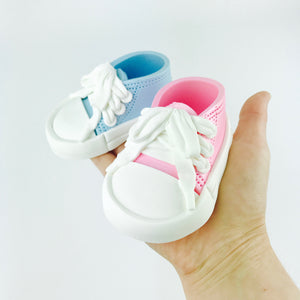 Gender Reveal Sneakers Shoes Cake Topper in Blue and Pink
