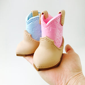 Gender Reveal Cowboy boots fondant cake topper