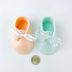 Gender Reveal Baby Booties Fondant Cake Topper in Peach and Mint - Ships within 3 Business Days