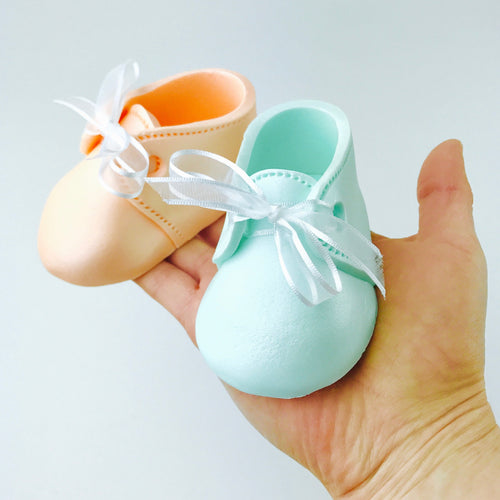 Gender Reveal Baby Booties Fondant Cake Topper in Peach and Mint