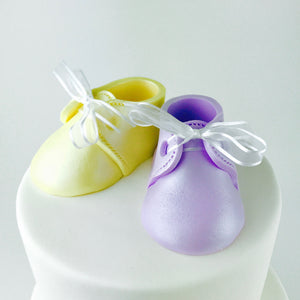 Gender Reveal Baby Booties Fondant Cake Topper in Lilac and Yellow - Ships within 3 Business Days