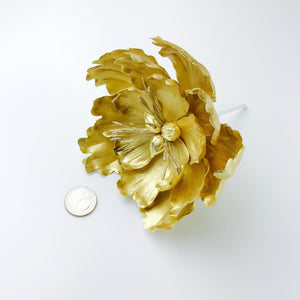 Extra Large Open Peony Sugar Flower in Gold